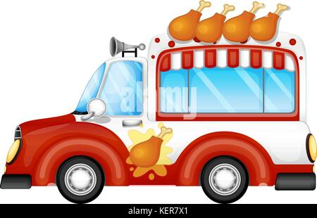 Illustration of a vehicle selling fried chicken legs on a white background - Stock Photo