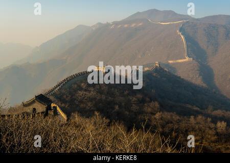 asia cina beijing travel Great Wall of Mutianyu landscape - Stock Photo