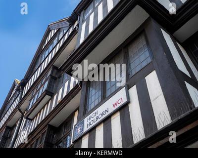 STAPLE INN BUILDING, HIGH HOLBORN, LONDON:  High Holborn Street Sign on the Tudor Grade 1 Listed Building - Stock Photo