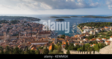 The unforgettable views of Hvar town and the Pakleni Islands just off the coast seen from the 16th century fortress - Stock Photo