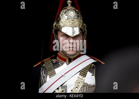 Close up of the Household Queens Cavalry in uniform on Whitehall in London the capital city of England - Stock Photo