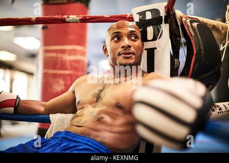 Portrait of male boxer resting in boxing ring corner, Taunton, Massachusetts, USA - Stock Photo