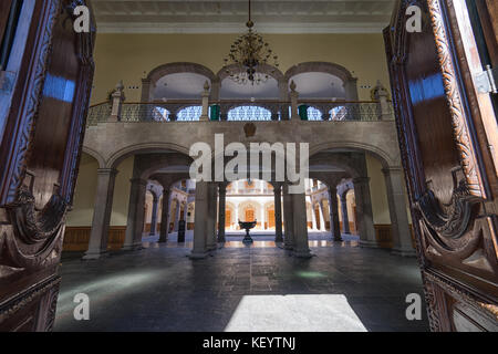 January 16, 2016 Monterrey, Mexico: the interior of the governor's palace seen from the entrance - Stock Photo