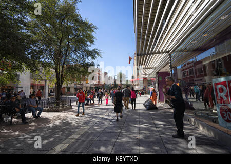January 16, 2016 Monterrey, Mexico: people walk in the Plaza Morelos shopping area in the business centre of the - Stock Photo