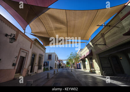 January 16, 2016 Monterrey, Mexico: shade over the street in the historic old town called 'Barrio Antiguo' - Stock Photo