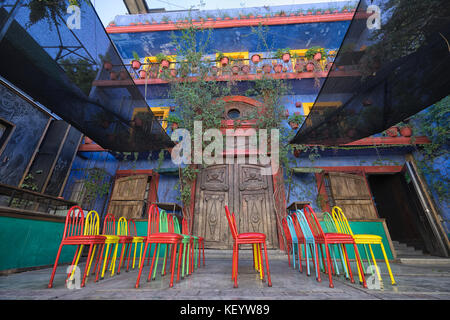 January 16, 2016 Monterrey, Mexico: colourful colonial architecture and patio in the historic old town called 'Barrio - Stock Photo