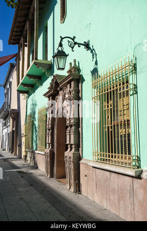 January 16, 2016 Monterrey, Mexico: colourful colonial architecture in the historic old town called 'Barrio Antiguo' - Stock Photo