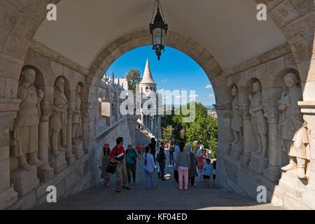 Horizontal view of the Fisherman's Bastion in Budapest. - Stock Photo