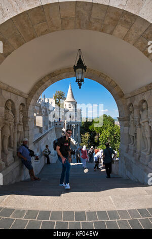 Vertical view of the Fisherman's Bastion in Budapest. - Stock Photo