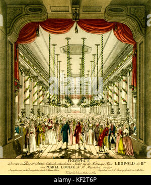 Leopold II 's coronation ball, 1791. Held in building of Nostitz Theatre, Prague, built specifically for purpose - Stock Photo