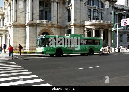 Trolley bus in Mexico city. Eje central. - Stock Photo
