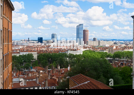 Lyon and the Rhone viewed from La Croix Rousse, Bellevue Square, Rhône Alpes, France - Stock Photo