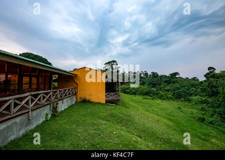 Scenic view from lodge terrace onto savanna - Stock Photo