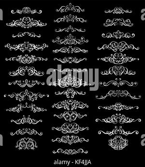Collection of vintage calligraphic flourishes, curls and swirls decoration for greeting cards,books or dividers - Stock Photo