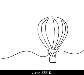 Hot air balloon sign. Continuous line drawing icon. Vector illustration - Stock Photo