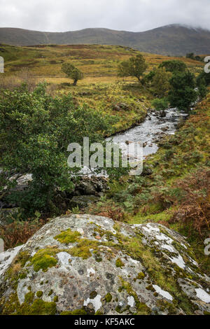 Possible ancient cup-marked stone near Loch Naver, Scottish Highlands, UK - Stock Photo