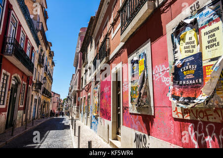 Lisbon Portugal Bairro Alto historic district Principe Real Rua da Rosa neighborhood buildings cobblestone street - Stock Photo