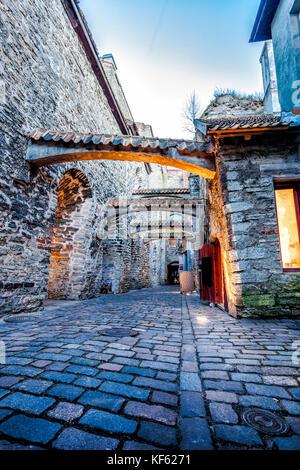 Medieval street  St. Catherine's Passage in Tallinn, Estonia  - Stock Photo