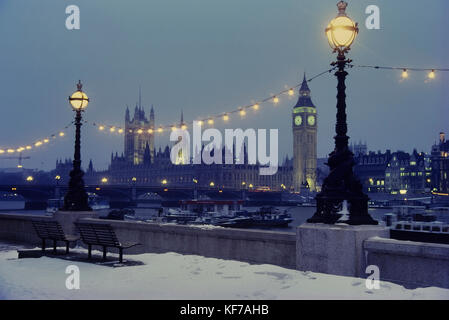 Snowfall at The Palace of Westminster, London, England, UK - Stock Photo