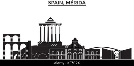 Spain, Merida architecture vector city skyline, travel cityscape with landmarks, buildings, isolated sights on background - Stock Photo
