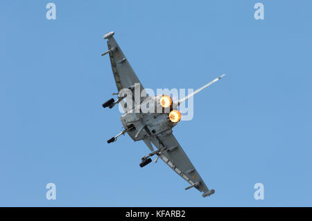 Spanish Airforce Eurofighter Tifon of Escuadron 113 / Ala 11 in the flying-display at RIAT 2007 - Stock Photo