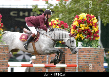 The National, Spruce Meadows June 2002, Nick Skelton (GBR) riding Russel - Stock Photo