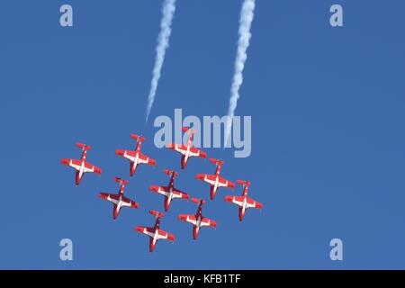 The Royal Canadian Air Force Snowbirds aircraft perform aerial acrobatics during the Gowen Thunder Open House and - Stock Photo