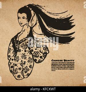 Vector chinese calligraphic ink beautiful woman sketch on vintage old paper texture, realistic parchment page with - Stock Photo