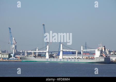 Ship in Harbor, Hamburg, Germany, Europe  I Schiff im Hamburger Hafen, Hamburg, Deutschland, Europa - Stock Photo
