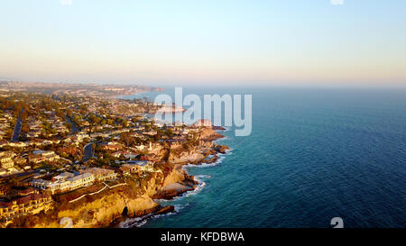 Aerial view of Laguna Beach at sunset - Stock Photo