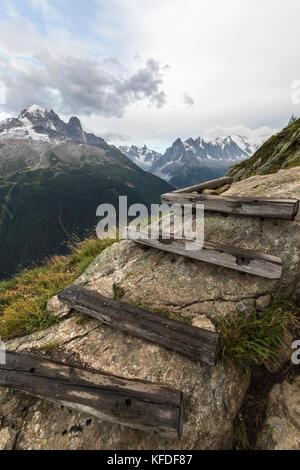 Aiguille du Dru, Aiguille Verte and Dent Du Geant from footpath to Lacs De Cheserys from Argentiere, Haute Savoie, - Stock Photo