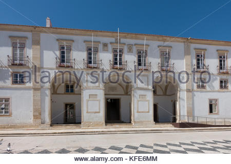Town hall building on the main square, Praca da Republica, Tomar, Portugal - Stock Photo