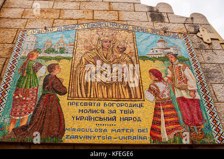 NAZARETH, ISRAEL - NOVEMBER 2011: Ukraininan Virgin Mary - Stock Photo