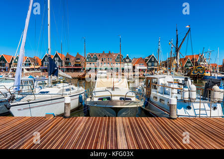 View on Volendam and its marina, The Netherlands. Volendam is a fishing village and popular tourist attraction in - Stock Photo