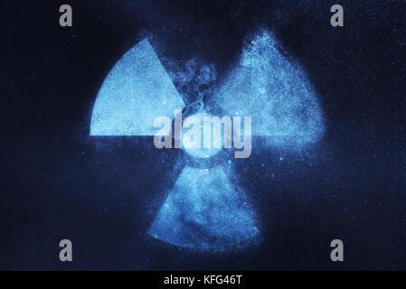 Radiation sign, Radiation symbol. Abstract night sky background - Stock Photo
