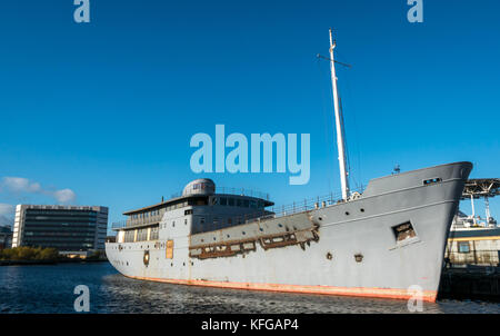 MV Fingal, former lighthouse tender being converted to 5 star luxury floating hotel by Royal Yacht Britannia, Leith - Stock Photo