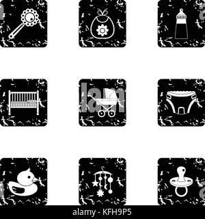 Things for baby icons set, grunge style - Stock Photo
