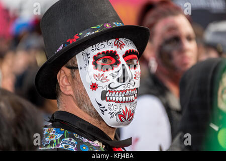 Montreal, Canada - October 28, 2017: Man taking part in the Zombie Walk in Montreal Downtown - Stock Photo
