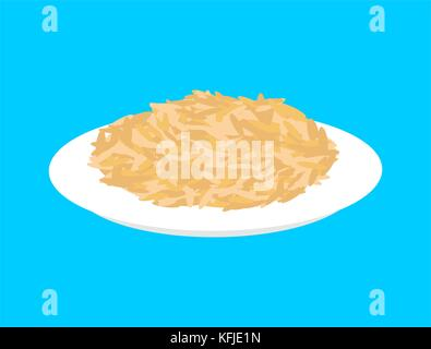 Oat cereal in plate isolated. Healthy food for breakfast. Vector illustration - Stock Photo