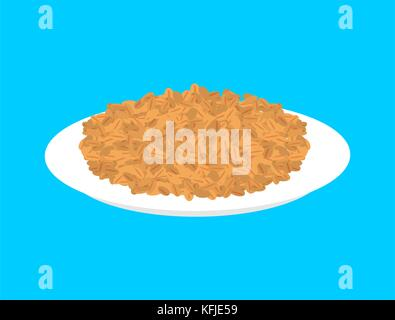 Wheat cereal in plate isolated. Healthy food for breakfast. Vector illustration - Stock Photo
