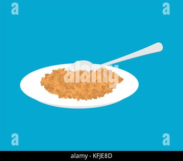 Wheat Porridge in plate and spoon isolated. Healthy food for breakfast. Vector illustration - Stock Photo