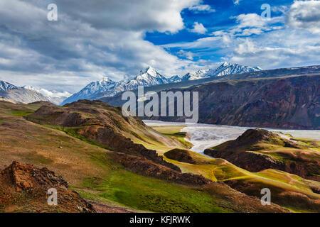 HImalayan landscape in Himalayas, Himachal Pradesh, India - Stock Photo