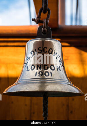 Ship's bell on Discovery ship berthed at Discovery Point in Dundee ,Tayside, Scotland, - Stock Photo