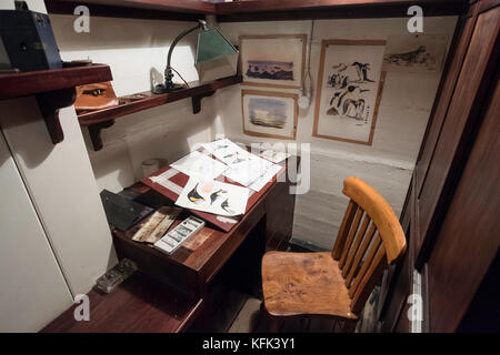 Interior of scientific officer's office  on the Discovery ship berthed at Discovery Point in Dundee ,Tayside, Scotland, - Stock Photo