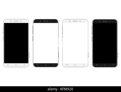 Set of white and black smartphones - Stock Photo