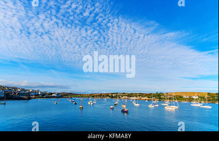 Beautiful harbour of Falmouth in Cornwall, UK. In the distance you can see the shores of Flushing village on the - Stock Photo