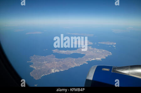 Greek island of Milos in the Cyclades group of islands seen from a passenger jet at 36,000 feet above. October 2017 - Stock Photo