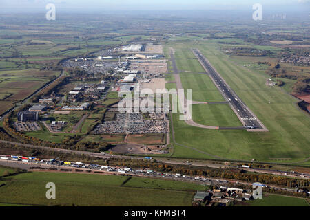 aerial view of East Midlands Airport, Derby, UK - Stock Photo