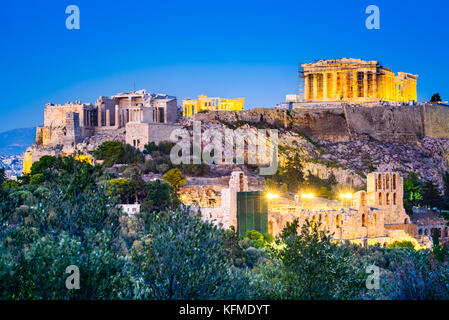 Athens, Greece - Night view of Acropolis, ancient citadel of Greek Civilization. - Stock Photo