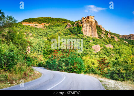 Meteora, Greece. Literally 'suspended in the air',  is a formation of immense monolithic pillars and huge with monasteries. - Stock Photo